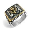 《 QBOX 》FASHION 飾品【RHF349】精緻個性霸氣王者獅頭鑲鑽頭鑄造鈦鋼戒指/戒環
