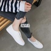 新款白色帆布鞋女一腳蹬懶人鞋平底小白鞋學生正韓百搭休閒鞋