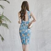 無袖洋裝小禮服 旗袍式連身裙女夏季韓版名媛立領無袖性感收腰復古印花露背禮服裙