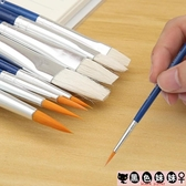 3支裝筆刷套裝水彩水粉筆刷顏料筆圓頭扇形小號大號丙烯油畫勾線筆初學者LXY6570【黑色妹妹】