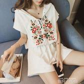 夏季套裝女時尚兩件套2018新款韓版寬鬆大碼胖MM短褲運動服潮 依凡卡時尚