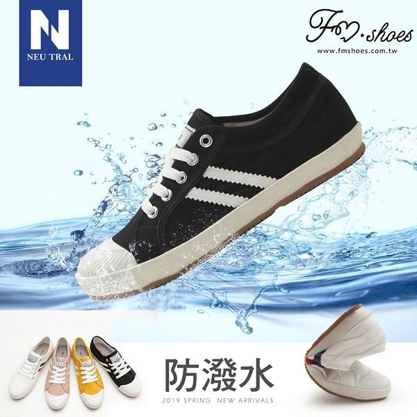 休閒鞋.防潑水雙斜紋小白鞋-黑-FM時尚美鞋-NeuTral.Cream