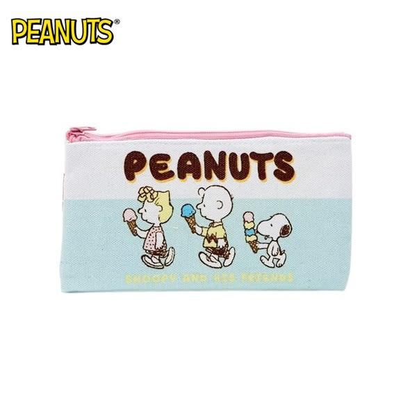 冰淇淋款【日本正版】史努比 帆布 扁筆袋 M號 鉛筆盒 筆袋 收納包 Snoopy PEANUTS - 295095