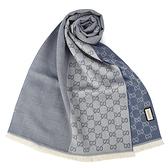 GUCCI雙G拚色緹花流蘇羊毛圍巾(淺灰藍)348003