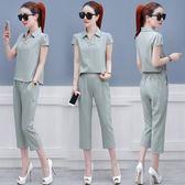 夏季套裝裝復古港味時尚小心機夏天短袖七分褲兩件套潮