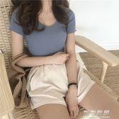 夏裝女裝打底衫休閒純色半袖T恤修身針織TEE女短袖上衣 可可鞋櫃
