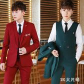 中大尺碼西服套裝 三件套修身小西裝職業正裝伴郎新郎結婚禮服 QQ9320『MG大尺碼』