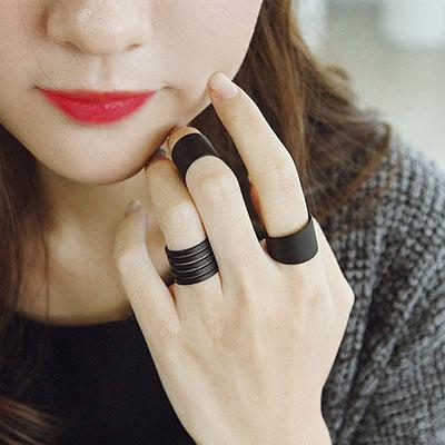 戒指 韓劇同款黑色螺旋三件組戒指【O2498】☆雙兒網☆