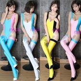 閃光拼色高叉連體衣性感情趣開襠夜店演出服舞蹈泳裝含襪套絲襪女