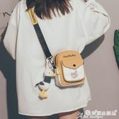手機包 可愛小包包新款2020韓版ins古著感帆布斜背手機包學生百搭側背包