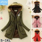 【V9660】shiny藍格子-冷冬陪伴.毛毛連帽收腰羊羔絨棉襖外套