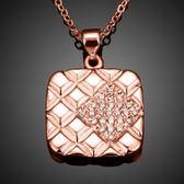 項鍊 玫瑰金純銀 鑲鑽吊墜-方形造型生日情人節禮物女飾品2色73br87【時尚巴黎】