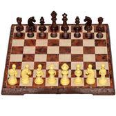 國際象棋小學生兒童成人大號仿木紋磁性棋折疊棋盤套裝送西洋跳棋 免運直出 聖誕交換禮物