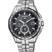 加碼第3年保固*限量款 CITIZEN 星辰 光動能電波鈦金屬腕錶-黑x銀/42mm AT9096-57E