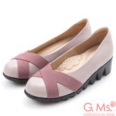 G.Ms.*MIT系列-牛皮交叉鬆緊帶厚底包鞋-優雅紫
