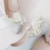 韓國直送手工獨家訂製款 惹人憐愛 蕾絲花 女鞋裝飾 婚鞋推薦飾扣鞋夾