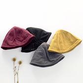 韓國空運復古色漁夫帽 童帽 棉麻 純色 漁夫帽