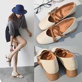 春季新款韓版中跟復古女粗跟方頭單鞋子