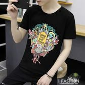 夏季新款男士短袖T恤潮流韓版圓領帥氣青少年學生修身體恤潮流-Ifashion