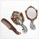 鋅合金浮雕橘綠孔雀紅銅琺瑯妝鏡組(含鏡+...