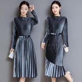 長袖洋裝 套裝金絲絨連身裙新款兩件套百褶裙氣質收腰過膝長裙