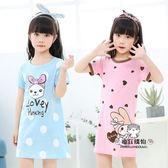 新年禮物-女童睡裙棉質夏季中大童家居服薄款小女孩短袖連身裙