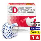 超服貼3D立體口罩(M號9-11cm 成年女性)(小熊印花)30片/盒(台灣製造 細菌過濾BFE平均高達95%)專品藥局