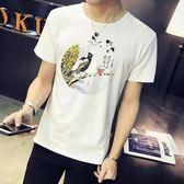 短袖T恤男 韓版男短T 夏季大碼潮男裝 圓領印花男士上衣修身青年體恤半截袖休閒男裝上衣cs16
