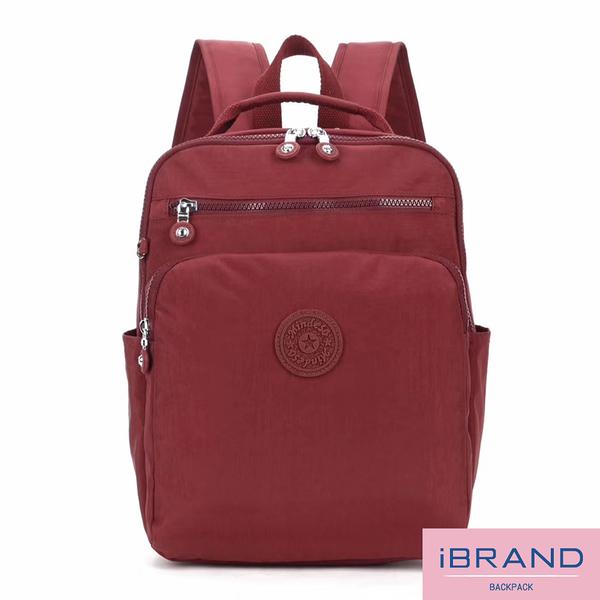 【i Brand】輕盈防潑水素色雙拉鍊尼龍後背包-深棗紅 MDS-8612-深棗