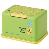 小禮堂 迪士尼 小熊維尼 按壓彈蓋兒童口罩盒 (綠大臉款) 4973307-54505