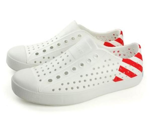 Native JEFFERSON 男女款白紅色情侶休閒鞋 -NO.11100102-8560