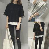 短袖t恤女夏季寬鬆純色七分袖假兩件日韓學生百搭原宿風上衣潮