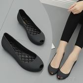 新款果凍鞋甜美簡約橡膠雨鞋魚嘴果凍單鞋防滑防水塑膠鞋      俏女孩