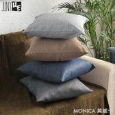 新款抱枕加厚純色亞麻簡約沙發靠枕枕套訂做靠墊人氣辦公室靠背 莫妮卡小屋 igo