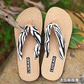 麻繩紋底女士人字拖 夏季防滑平底夾拖涼拖鞋平跟沙灘鞋韓