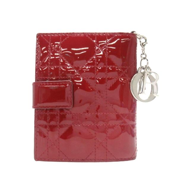 Dior 迪奧 紅色籐格紋漆皮牛皮二折式短夾 Lady Dior  【二手名牌BRAND OFF】