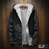 『潮段班』【HJ000A31】秋冬潮流棉風衣夾克加絨素色冬裝厚保暖外套