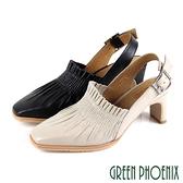 U6-23302 女款粗高跟淑女鞋 抓皺荷葉邊繞踝壓克力水鑽皮釦粗高跟淑女鞋/涼鞋【GREEN PHOENIX】