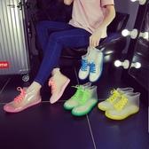 時尚雨鞋果凍加絨成人透明保暖雨靴膠鞋防水鞋防滑韓國學生女短