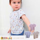 嬰幼兒肩開居家短袖T恤 上衣(藍.粉.黃) 男女童裝 魔法Baby