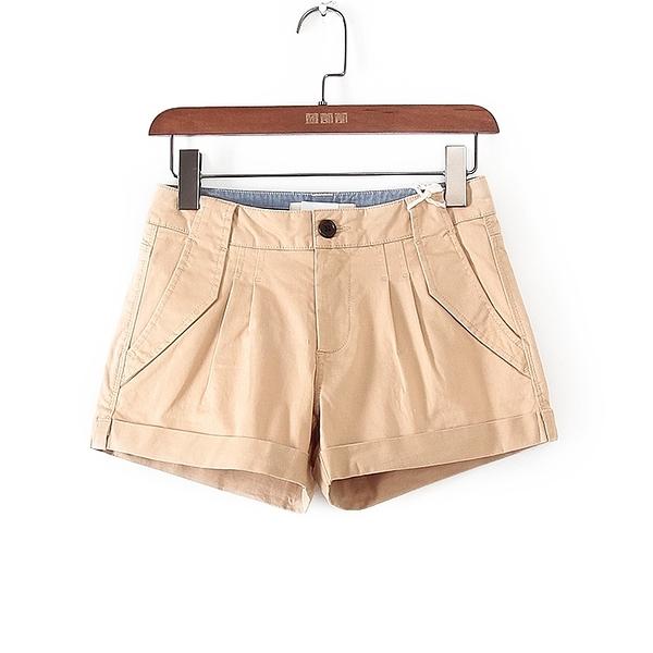 [超豐國際]堅夏季裝女裝深米色純色休閑直筒短褲 42804(1入)
