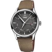 Oris豪利時 Artelier 指針式日曆星期機械錶-灰x咖啡/40mm 0175577424053-0752132FC