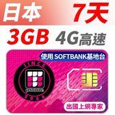 【TPHONE上網專家】日本 SOFTBANK 高速上網卡 7天無限上網 前面3GB 走4G高速