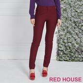 RED HOUSE 蕾赫斯-素面拉鍊修身褲(紫色)