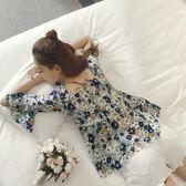 (工廠直銷不退換)夏季新款女方領碎花修身中袖雪紡衫喇叭袖打底衫上衣【】831##G-725-A韓依戀