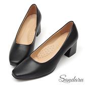 訂製鞋 法式簡約方頭皮革中跟鞋-黑