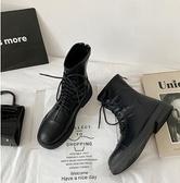馬丁靴 后拉鏈加絨馬丁靴女英倫風2021冬季新款百搭chic粗跟方頭機車靴潮【快速出貨八折優惠】