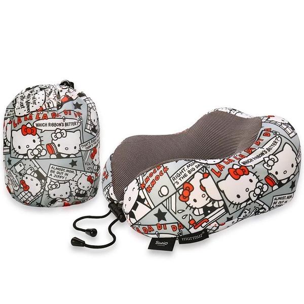 murmur Hellokitty漫畫灰 旅行頸枕 記憶頸枕 U型枕 收納U型記憶舒壓頸枕 KT漫畫灰