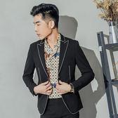 男 紳士/窄版/西裝外套 L AME CHIC 珠邊繡線西裝外套【FTBL100501】