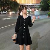 大尺碼女新款洋氣減齡長袖連身裙女秋冬仙氣甜美胖MM單排扣收腰裙子